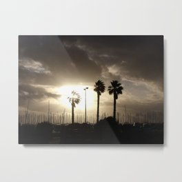 Palm trees & boats Metal Print
