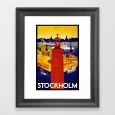 Vintage Stockholm Sweden Travel Framed Art Print