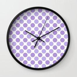 Modern trendy lavender lilac hipster polka dots Wall Clock