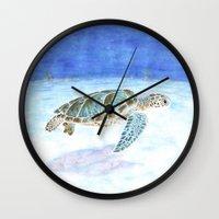 sea turtle Wall Clocks featuring Sea turtle by Savousepate