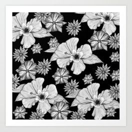 Floral Mood: Black and White Art Print