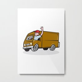 Delivery Man Waving Driving Van Cartoon Metal Print
