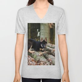 Cold snout playing in the forest Unisex V-Neck