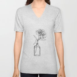 Minimal single line drawing of flower in vase - black and white peony rose Unisex V-Neck