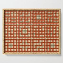 Beaded breeze blocks design pattern orange & cream Serving Tray