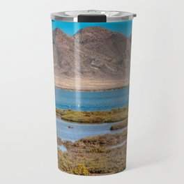 Landscape with mountain and water in Andalusia, Almeria, Spain Travel Mug