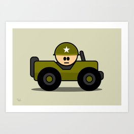 Little Soldier Jeep Military Art, Military Wall Art for Boys Room Nursery Decor Art Print
