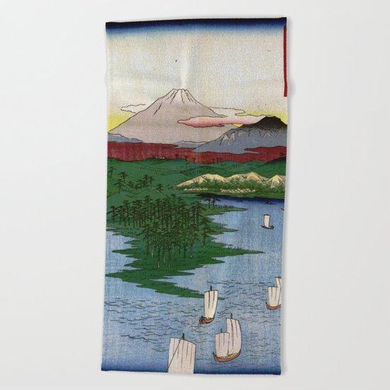 Noge and Yokohama by Hiroshige Beach Towel