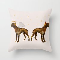 puppies Throw Pillows featuring puppies by shrewmole