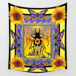 Black-Purple Stag horn Beetle Butterflies  Sunflower Yellow Design. Wall Tapestry