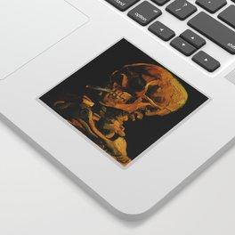 Van Gogh, Skull of a Skeleton with Burning Cigarette  – Van Gogh,Vincent Van Gogh,impressionist,post Sticker