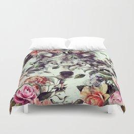 Floral Wolf Duvet Cover