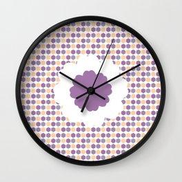 Flower and purple hexagons Wall Clock