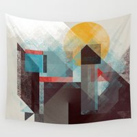 calvin Wall Tapestries featuring Over mountains by Efi Tolia
