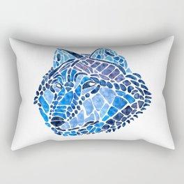 Blue Wolf Painted Mosaic Illustration Rectangular Pillow