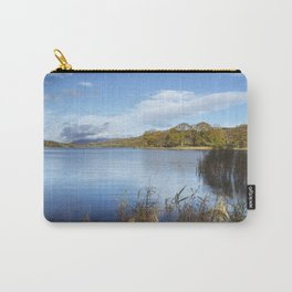 Men fishing on the distant shore of Esthwaite Water. Lake District, UK. Carry-All Pouch