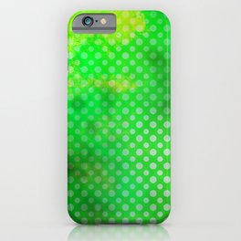 Texture in Green Flash with Polka Dots iPhone Case