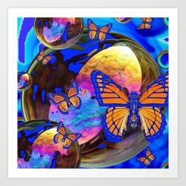 SURREAL BLUE  MONARCH BUTTERFLIES & IRIDESCENT BUBBLES  ART Art Print
