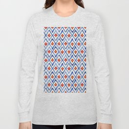 blue rhombus balinese ikat mini Long Sleeve T-shirt