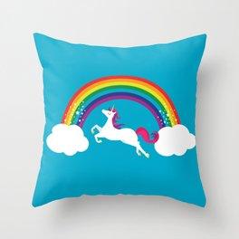 Unicorn Rainbow in the Sky Throw Pillow