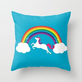 Unicorn Rainbow in the Sky Throw Pillow