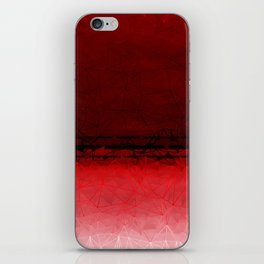 Deep Ruby Red Ombre with Geometrical Patterns iPhone Skin