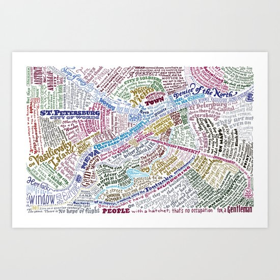 St. Petersburg Literary Map Art Print