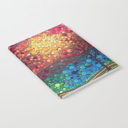 Winter sunset dot art by Mandalaole Notebook