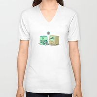 bmo V-neck T-shirts featuring BMO & Macintosh by solostudio