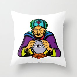 Fortune Teller With Crystal Ball Woodcut Throw Pillow