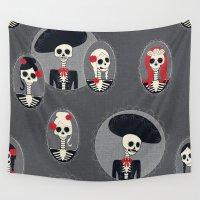 dia de los muertos Wall Tapestries featuring Dia de Los Muertos by Julie's Fabrics & Thingummies