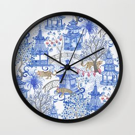 Party Leopards in the Pagoda Forest Wall Clock