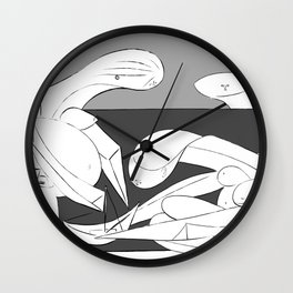 Picasso - On the beach (Grey) Wall Clock