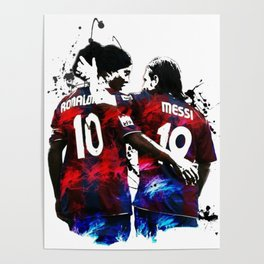 Illustration Ronaldinho And Messi Poster