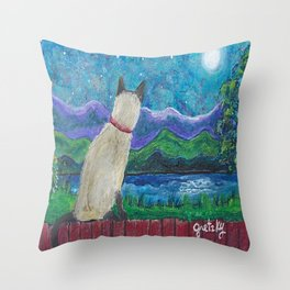 Siamese Cat in the Moonlight Throw Pillow