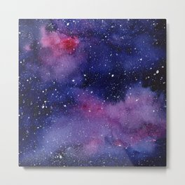 Watercolor Galaxy Nebula Pink Purple Sky Stars Metal Print