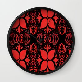 Christmas Red and black background Wall Clock
