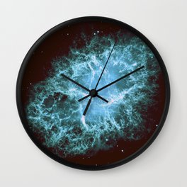 Crab Nebula Freshwater Blue teal Wall Clock