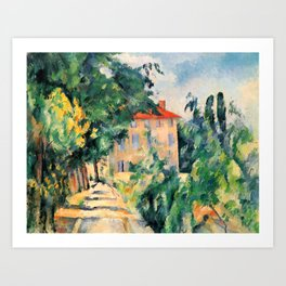 "Paul Cezanne ""House with red roof"", 1890 Art Print"