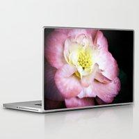 beth hoeckel Laptop & iPad Skins featuring Beth March - Pink Begonia by Regina Mountjoy