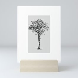 Strong and rooted | Tree line illustration black and white Mini Art Print