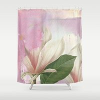 magnolia Shower Curtains featuring magnolia by clemm