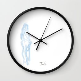 BlueWoman Holding Champagne Looking Back Wall Clock