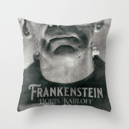 Frankenstein, vintage movie poster, Boris Karloff, horror film, Mary Shelley book cover Throw Pillow