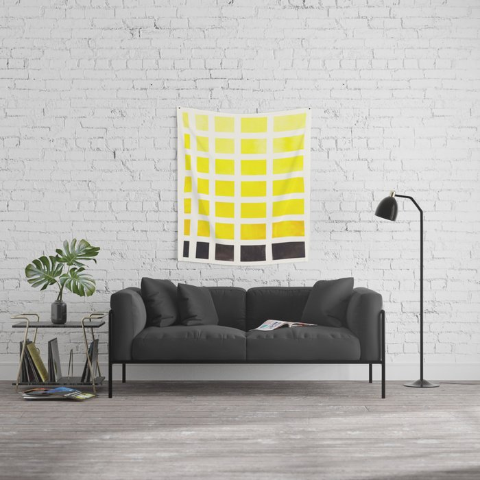 Watercolor Geometric Square Yellow Pattern Mid Century Modern ...