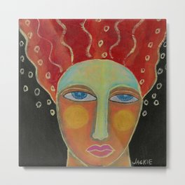 Wild Red Hair Abstract Acrylic Painting  Metal Print
