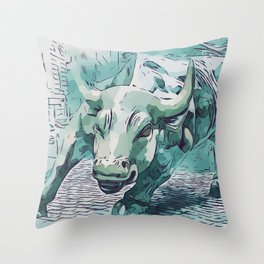 Bull Stock Exchange Bull Market Shares Shareholder Abstract Art Gift Throw Pillow