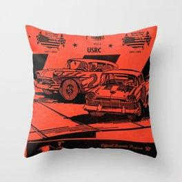 Vintage Auto Races Poster Throw Pillow