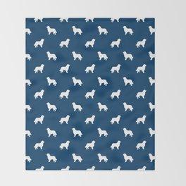 Bernese Mountain Dog pet silhouette dog breed minimal navy and white pattern Throw Blanket