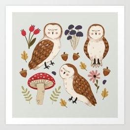 Woodland Owls Pattern Art Print